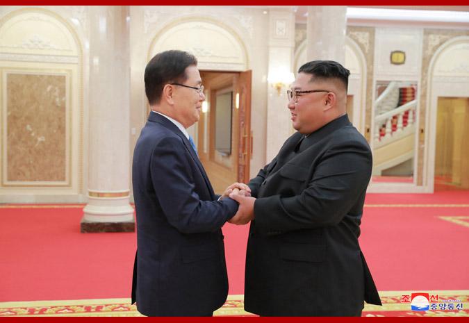 Ким Чен Ын и делегация спецпосланника Мун Чжэ Ина 1